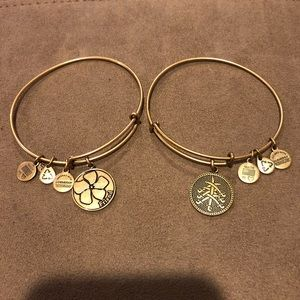 Alex and Ani, 2 Bangles with Gold Finish